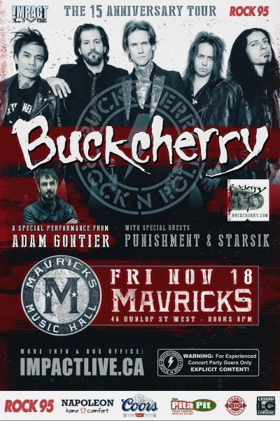 BUCKCHERRY, Adam Gontier, Punishment & Starsik Rock95 Concert Party!